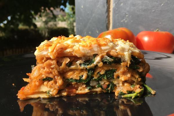 #LunesSinCarne: Lasaña de espinacas con soja